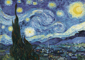Van Gogh - Starry Nigh Large A2 (42x59.4cm) QUALITY Canvas Print Poster Unframed