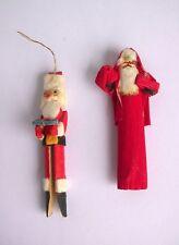 Santa Cornhusk & Santa Clothespin Ornaments - Handmade Vintage Folk Art set of 2