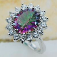 Chic Women Silver Rainbow Topaz Gemstone Wedding Bridal Ring Jewelry Size 6-10