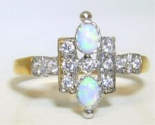ART DECO STYLE YELLOW GOLD ON SILVER OPAL CLUSTER  STATEMENT RING SIZE N