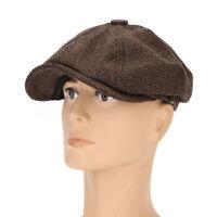 Men Visor Woolen Blending Newsboy Cap Beret Casual Winter Cabbie Hat US