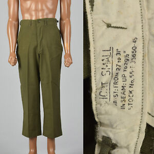 Small 1950s Mens Pants Military VTG Wool Tapered Leg Pockets Field Trousers