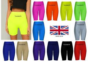 Ladies Womens Stretchy Shiny Dance Running Sports Cycling Shorts Pants (UK Made)