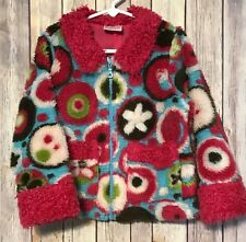 Hanna Andersson Anderson Girls Fuzzy Floral Winter Jacket Pink Blue  110 4 5 6