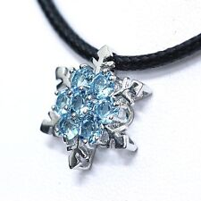 SWAROVSKI ELEMENTS Snowflake Pendant Frozen Blue leather Choker Necklace