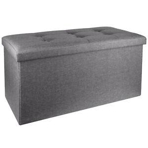 Folding Ottoman Storage Box Seating Fabric Leather Home Furniture Footstool