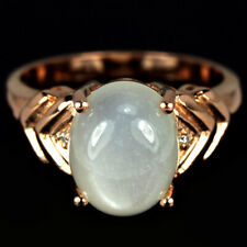 NATURAL AAA WHITE MOONSTONE CABOCHON & CZ STERLING 925 SILVER RING SIZE 7