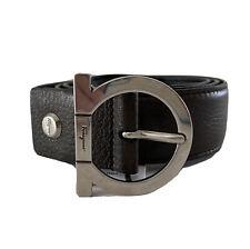 Y-1494139 New Salvatore Ferragamo Brown Leather Gancini Belt Size 34 Fit 30-32