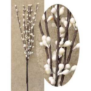 """Golden Tan set of 3 Eggshell Brown 12/"""" Pip Berry Stems Bunches w// Rusty Stars"""
