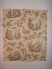 "Lee Jofa ""Four Seasons Toile"" romantic toile fabric remnant, color mauve"