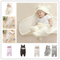 Infant Baby Boy Girl Soft Warm Fleece Swaddle Newborn Wrap Blanket Sleeping Bag