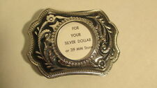 Vintage NOS squared Silver & black Belt Buckle blank with 39mm round bezel mount