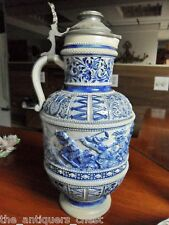Large German antique porcelain TANKARD BEER STEIN relief[aB]