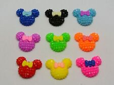 50 Mixed Color Flatback Resin Mouse Face Bows Dotted Rhinestone Cabochon 20X18mm