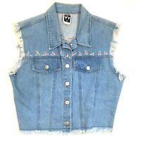 VTG 90s Pottery Womens Jean Jacket Vest Medium Sleeveless Denim Embroidered Fray