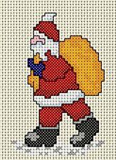 """Cross stitch christmas card kit, 'Christmas Eve Busy Santa', 8"""" x 6"""" card incl"""
