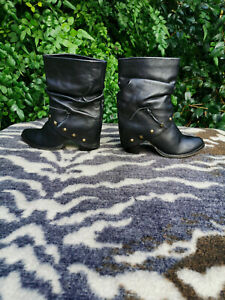 Black Leather fold over High heeled ankle boots Made in Italy Size UK 4 EU 37