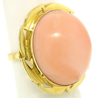 18K Yellow Gold 21x18mm Oval Cabochon Pink Angel Skin Coral Large Cocktail Ring