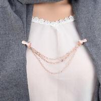 AU_ Shirt Cardigan Sweater Collar Clip Brooch Pin Chain Shawl Women Jewelry Char