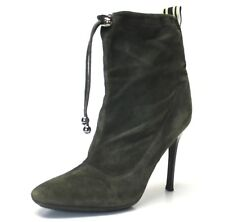 Steve Madden Steven Slouch Ankle Boots Green Suede Drawstring Stiletto Size 6M