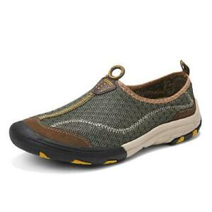 Mens Casual Faux Leather Sneakers Breathable Mesh Outdoor Sports Hiking Shoes