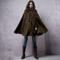 Womens Cloak Cape Jacket Winter Cosplay Coats Goth Punk Warm Wool Hooded Outwear