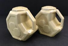 Vtg Alamo Pottery Art Deco Geometric Octagon Salt Pepper Shakers Tan/Yellow 1940
