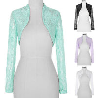4Colors Fashion Womens Ladies Long Sleeve Cropped Lace Shrug Bolero Plus Size