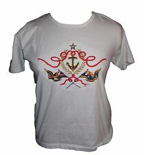 Anvil white ladies L top shirt embroidered embroidery anchor flags short sleeve