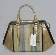 NWT Brahmin Arden Satchel in Atlas Collection Gold Embossed Leather & Real Fur