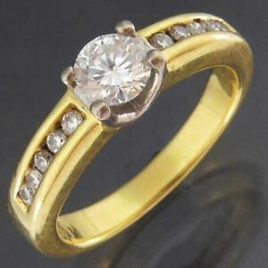 Solitaire & Accents Solid 18k Yellow GOLD DIAMOND RING Val=$3290 Small Sz I1/2
