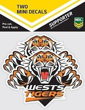 620014 WESTS TIGERS NRL SET OF 2 MINI DECALS CAR STICKERS ITAG