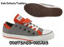 KID Boy Infant CONVERSE All Star GREY ORANGE DOUBLE UPPER OX Trainers UK SIZE 10