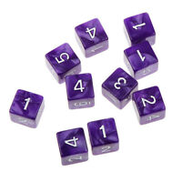 10 Six Sided Number Print D6 Dice D&D Role Play Games Party Toy - Purple