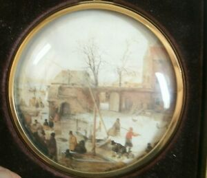 Peter Bates Miniature no 43 in series Ice near town by Hendrick Avercamp