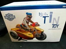 Harley-Davidson Side Car Tin Toy 1950s Reproduction Wind-up Style Blue Xonex F/S