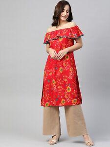 Women Red Floral Cotton Kurta Printed Off-Shoulder Flared Sleeves Kurti Dress