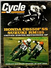 CYCLE Magazine Sept. 1975 HONDA CB55OF SS Suzuki RM125 Harley at San Jose RACING