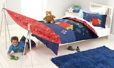 CUBBY HOUSE KIDS Camping SINGLE Quilt Cover Set - Blue, Teddy Bear, Tent