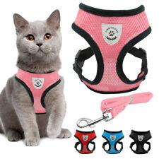 Arnés de paseo malla con correa para perro y gato Suave Rojo Rosa Negro S M L