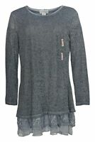 NorthStyle Women's Top Sz M Long Sleeve with Chiffon Hem Detail Gray