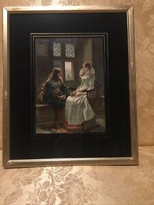 Stunning Gold Frame Rococo Print on Canvas Under Glass 1700's Lady & Gent