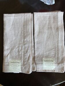New Southern Living 100% Linen cloth Napkin 20 x 20 Hemstitch Pale Pink