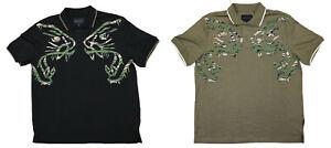 Sean John Camouflage Graphic Print Solid Short Sleeve Polo Shirt NWT