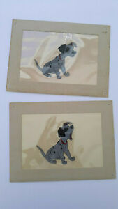 Lot 2 Vintage Disney Hand Painted Animated Cel Celluloid Drawing 101 Dalmations