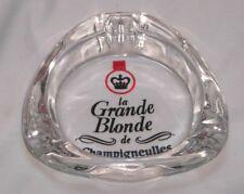 Cendrier Verre Grand Blonde CHAMPIGNEULLES  comme neuf jamais utilisé 11 cm diam