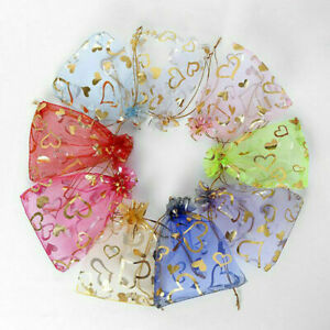 50/100Pcs Organza Gift Bag Wedding Party Favour Candy Storage Pouch Jewelry Bags