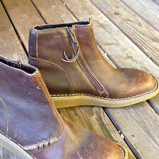Dr. Martens 3A61 Brown Distressed Leather Side Zip Ankle Boots Size: 8 US