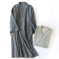 Men Kimono Yukata Pajamas Cotton Japanese Bathrobe Robe Gown Nightwear Home Chic