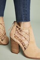 Joe's Jeans tan Suede Knotted Cutout Back Zip Ankle Boots 10